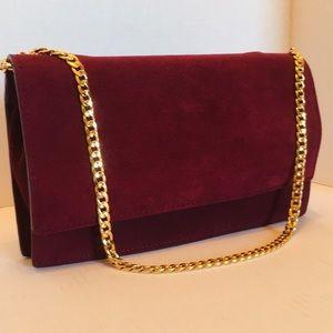Ann Taylor Suede Leather shoulder purse, clutch.